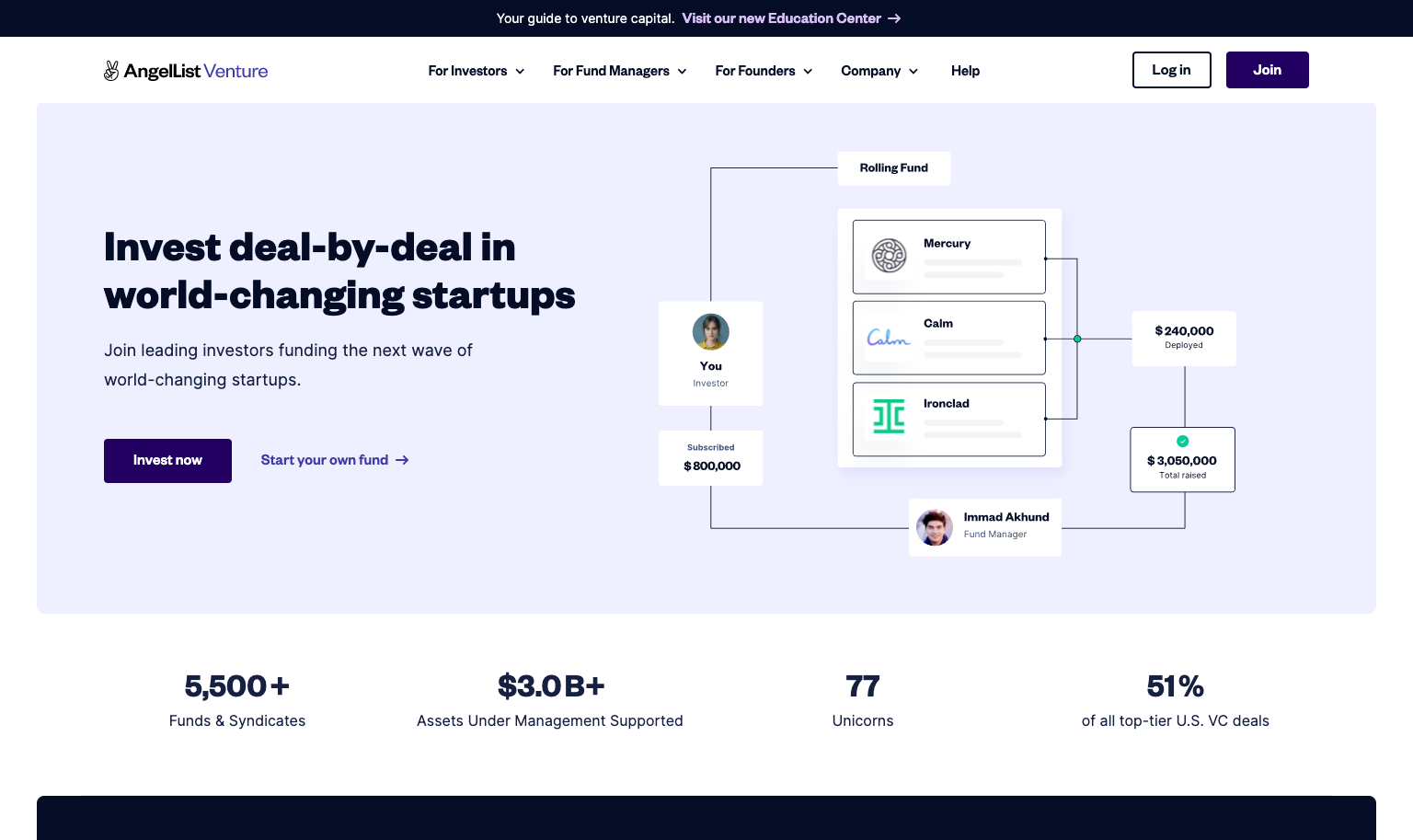AngelList Venture uses two button styles to highlight their Login and Join links for easy access.