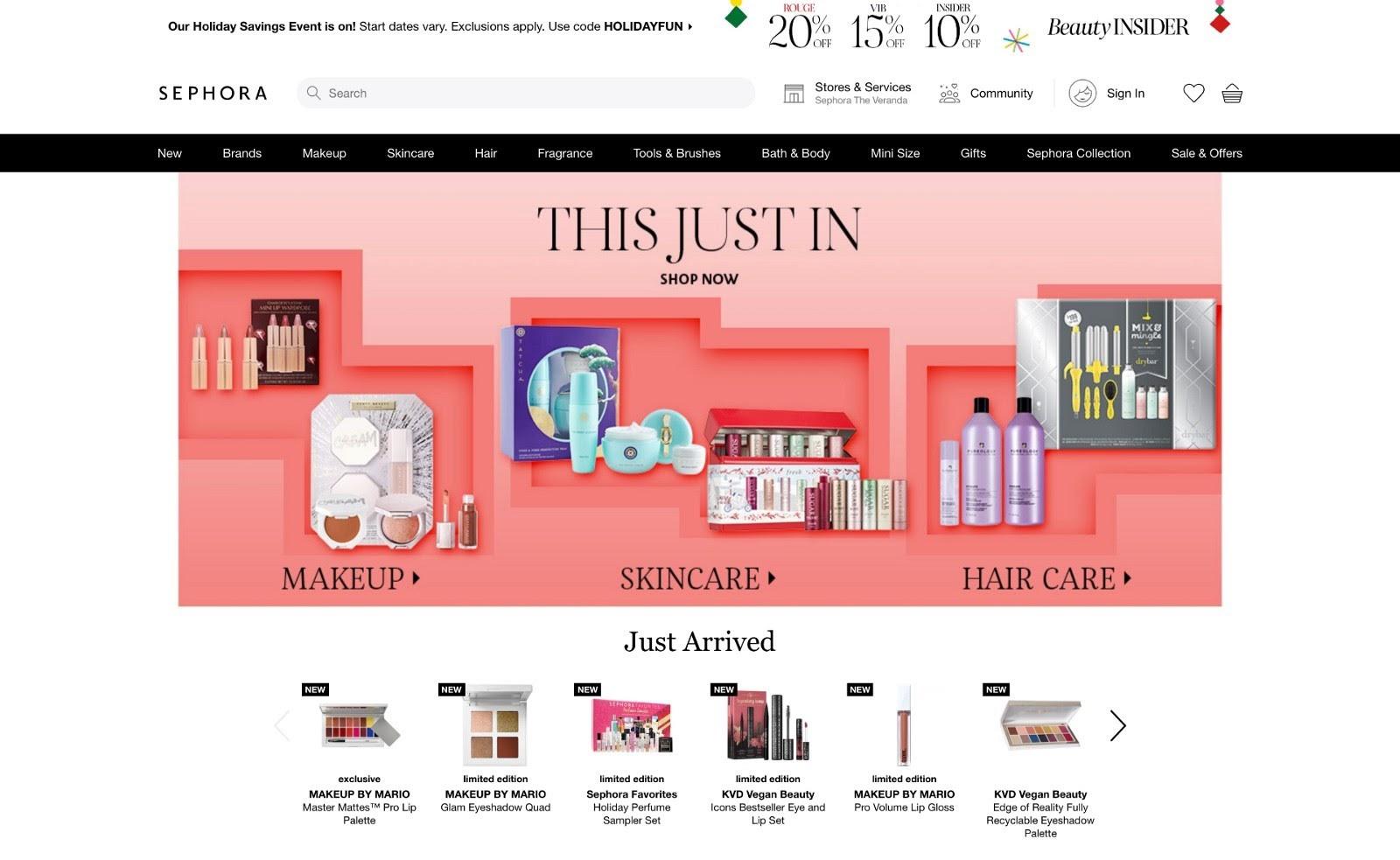 An eCommerce website (Sephora.com)