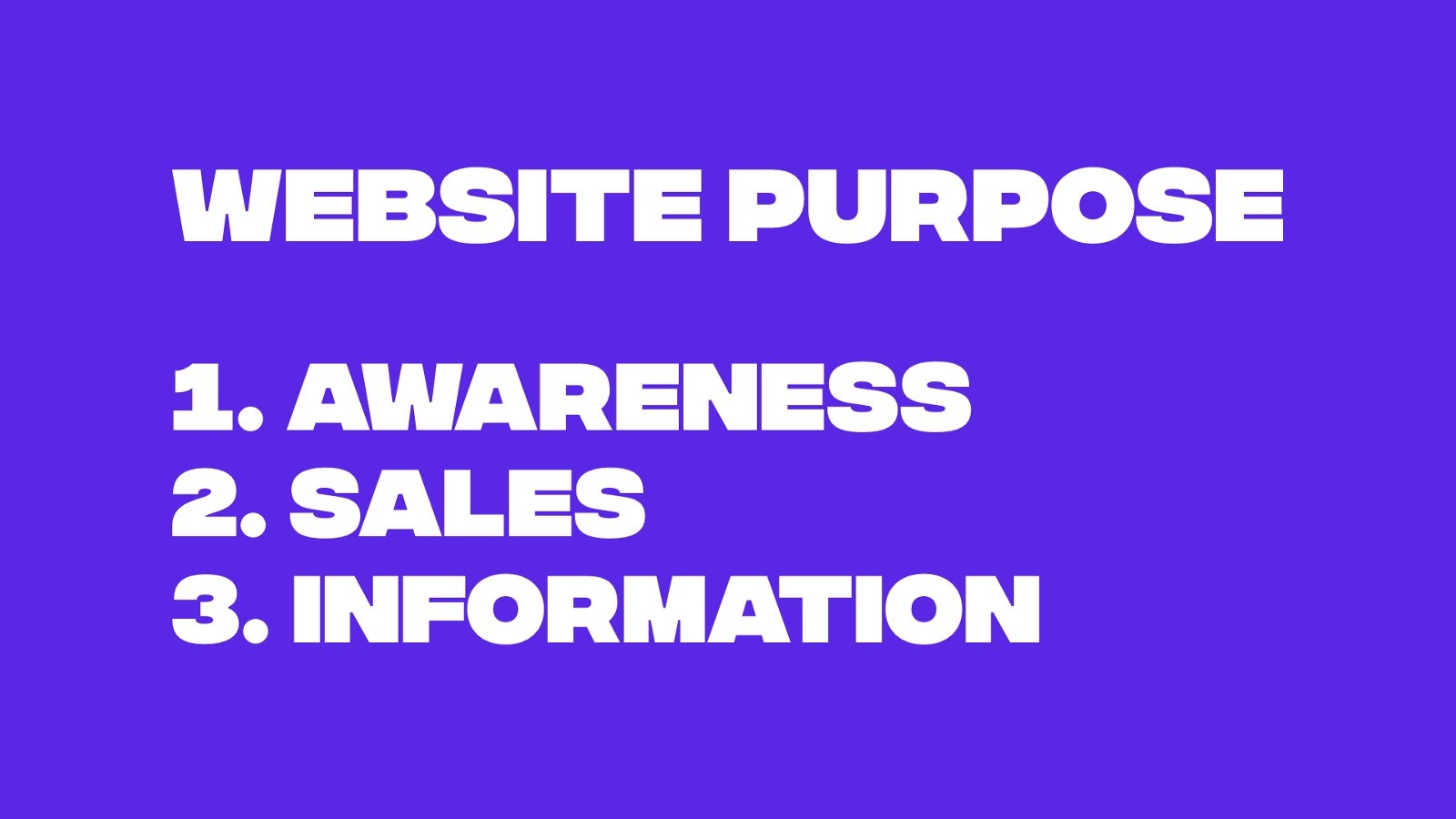 The 3 main purposes of a website