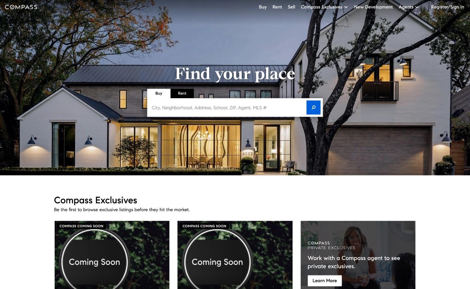 Example of a business website (Compass.com)