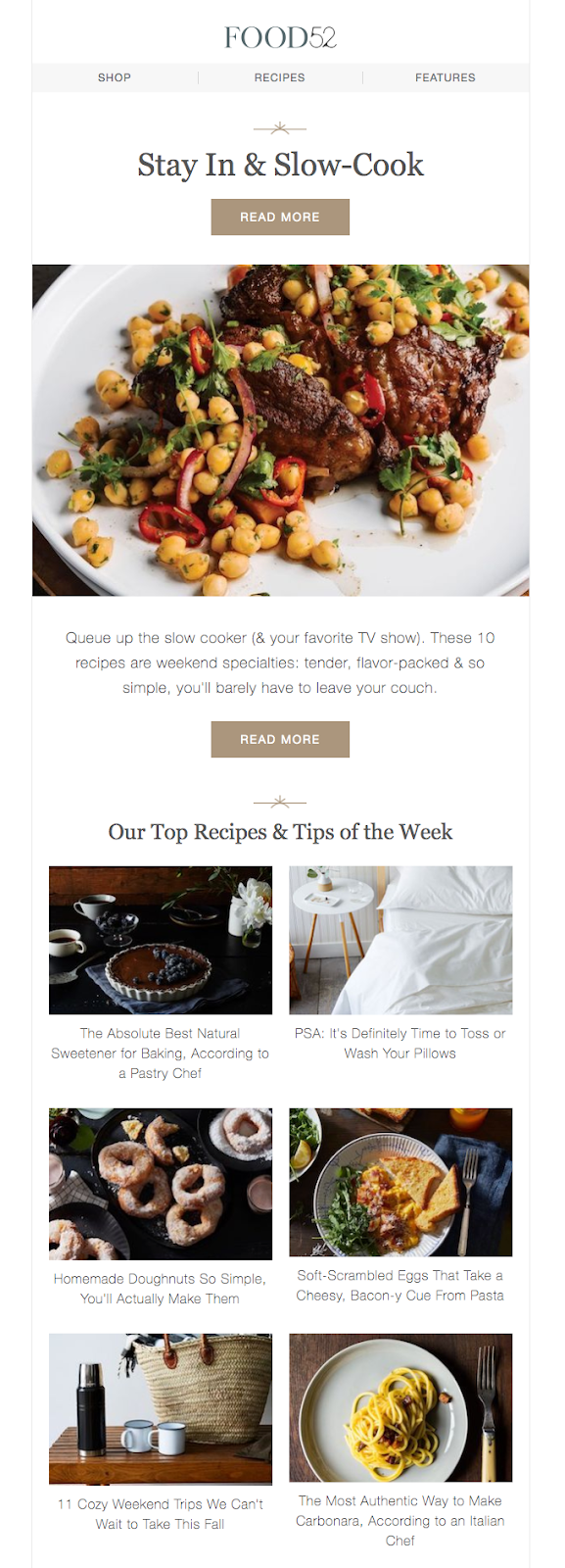 An example of a newsletter email from Food52
