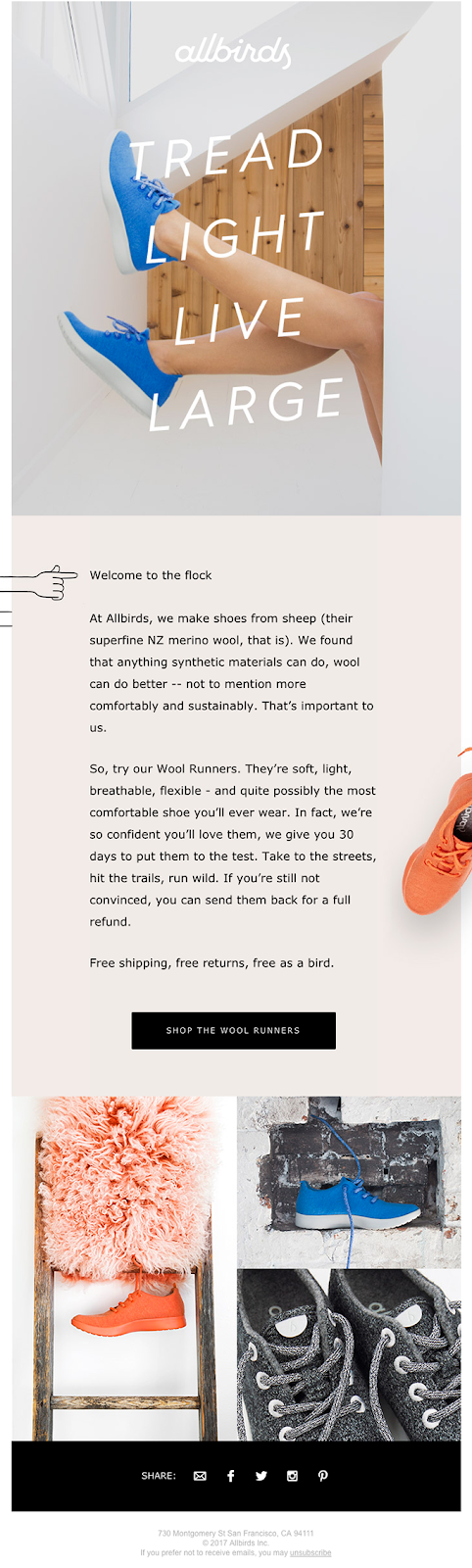 An example of a welcome series email