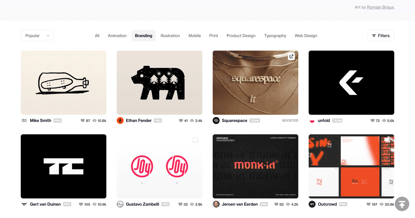 Popular works featured in Dribbble's branding category