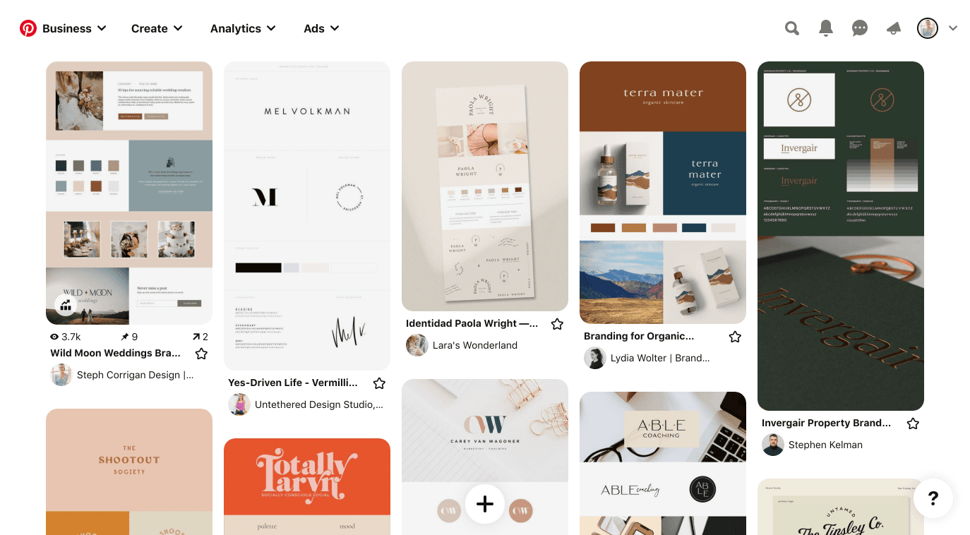 A collection of inspirational branding pins on Pinterest