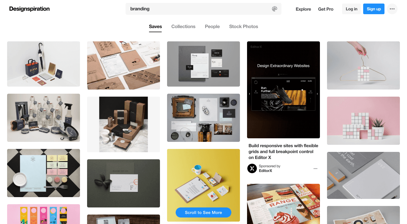"""A search for """"branding"""" on Designspiration yields a variety of styles and industries"""