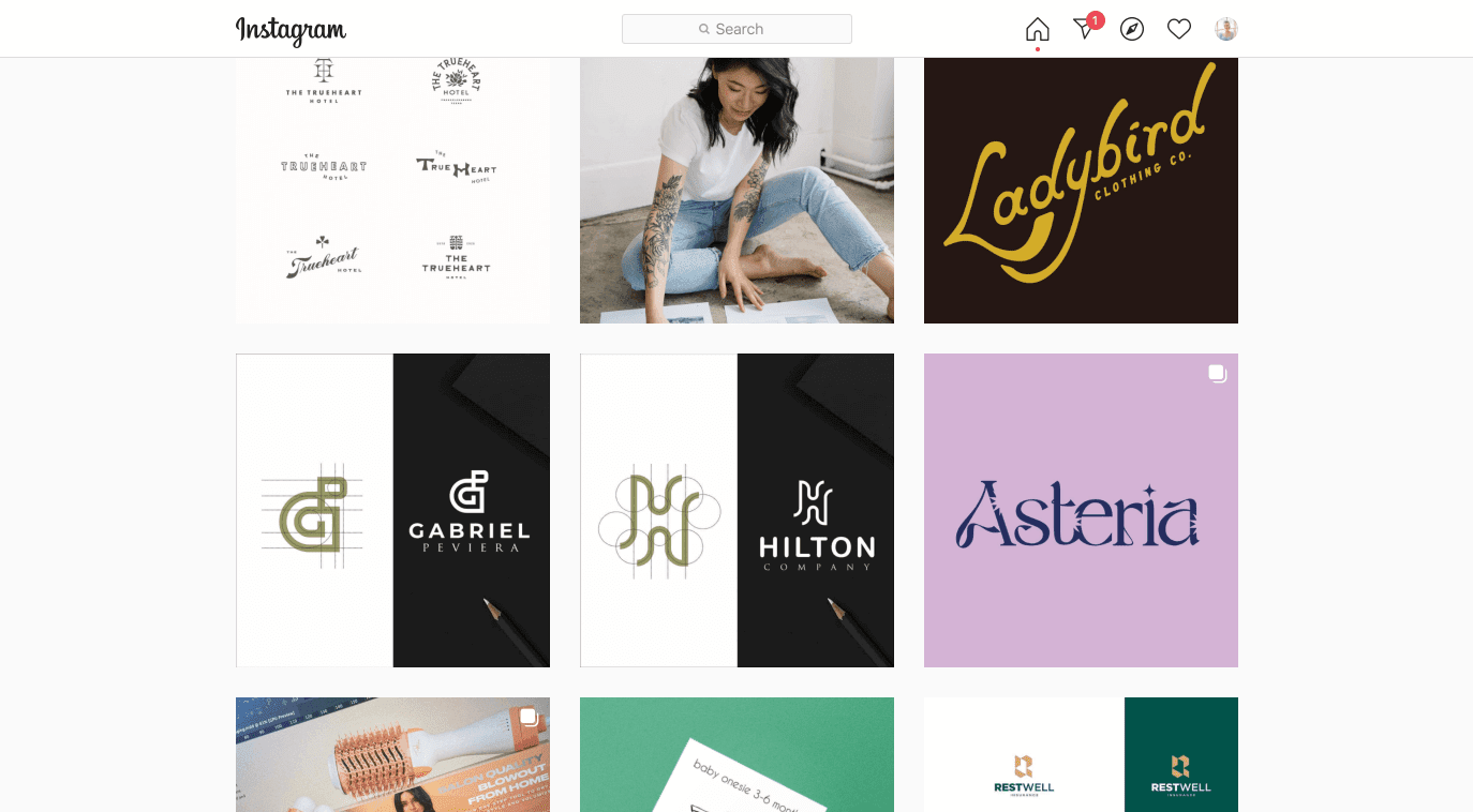 The top posts on Instagram within the #brandidentity hashtag