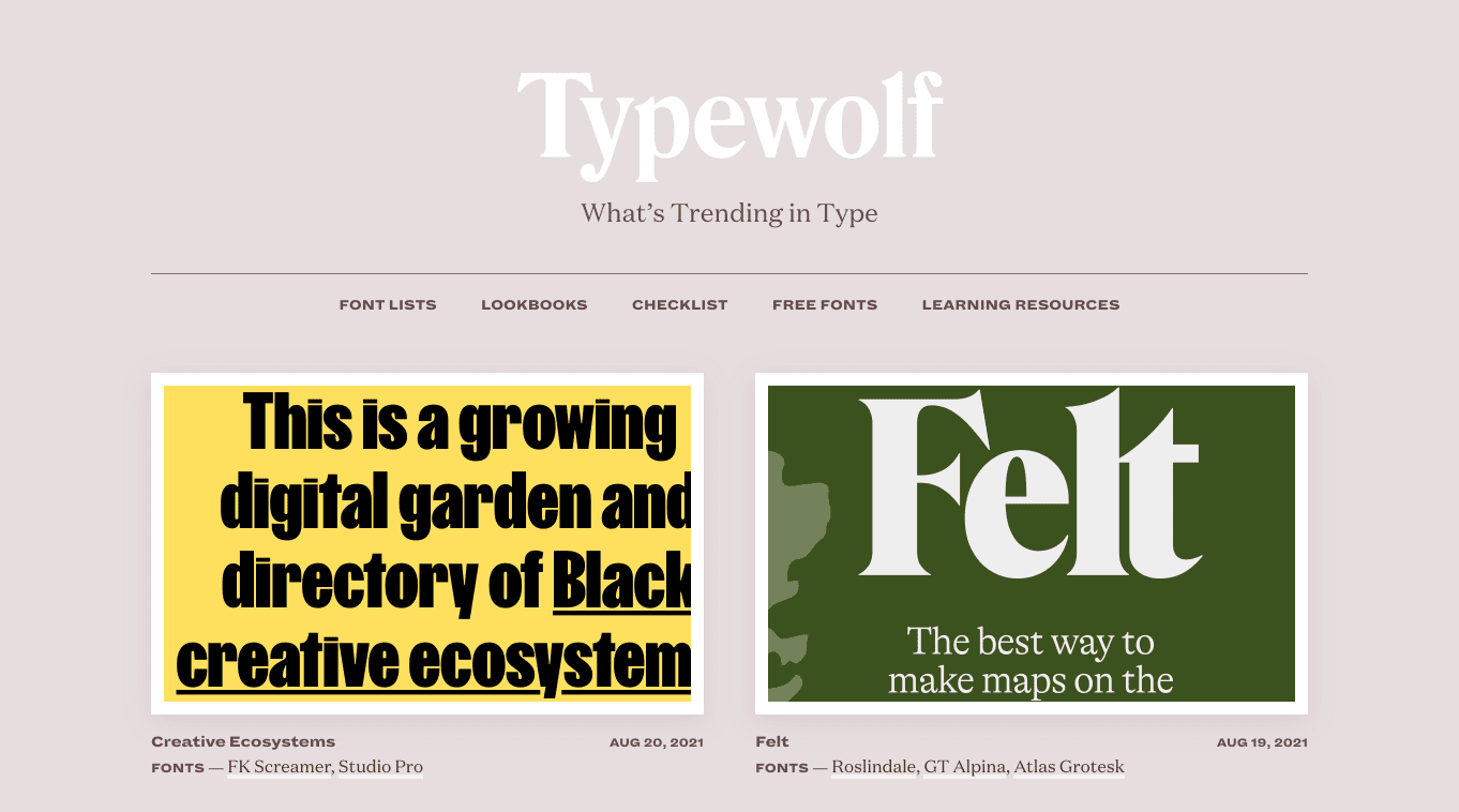 Typewolf offers curated font lists and lookbooks, which come in handy when designing brand identities