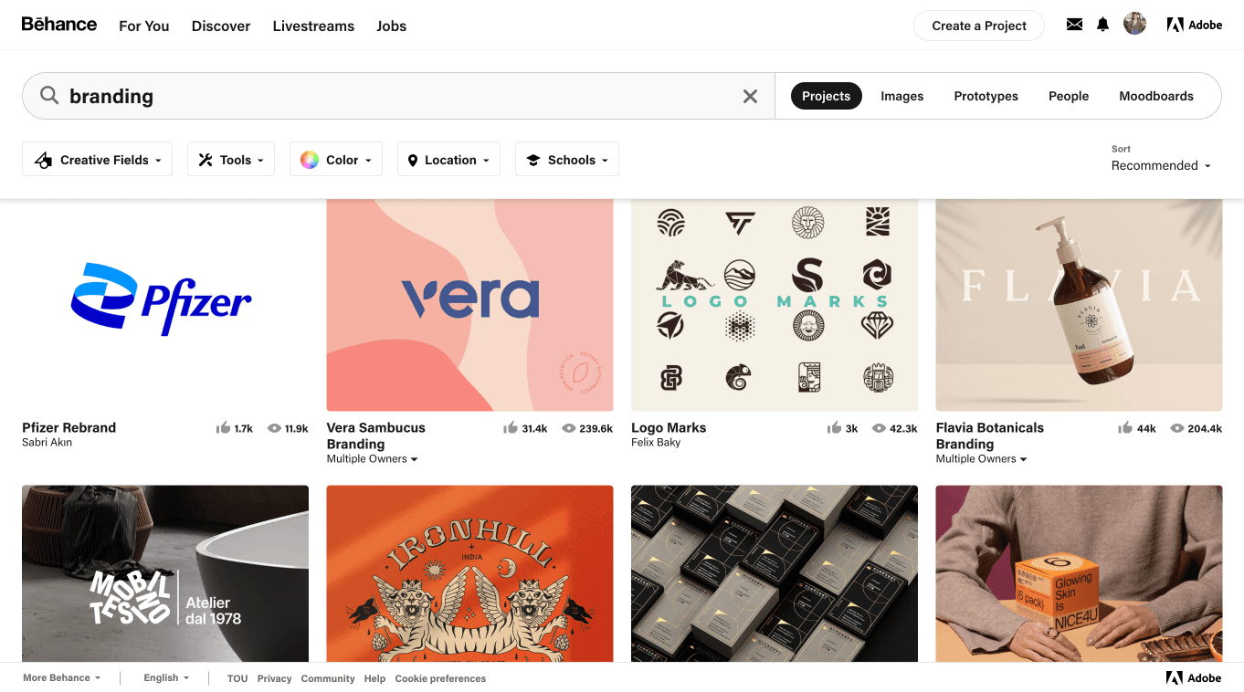 Some of the top branding projects on Behance