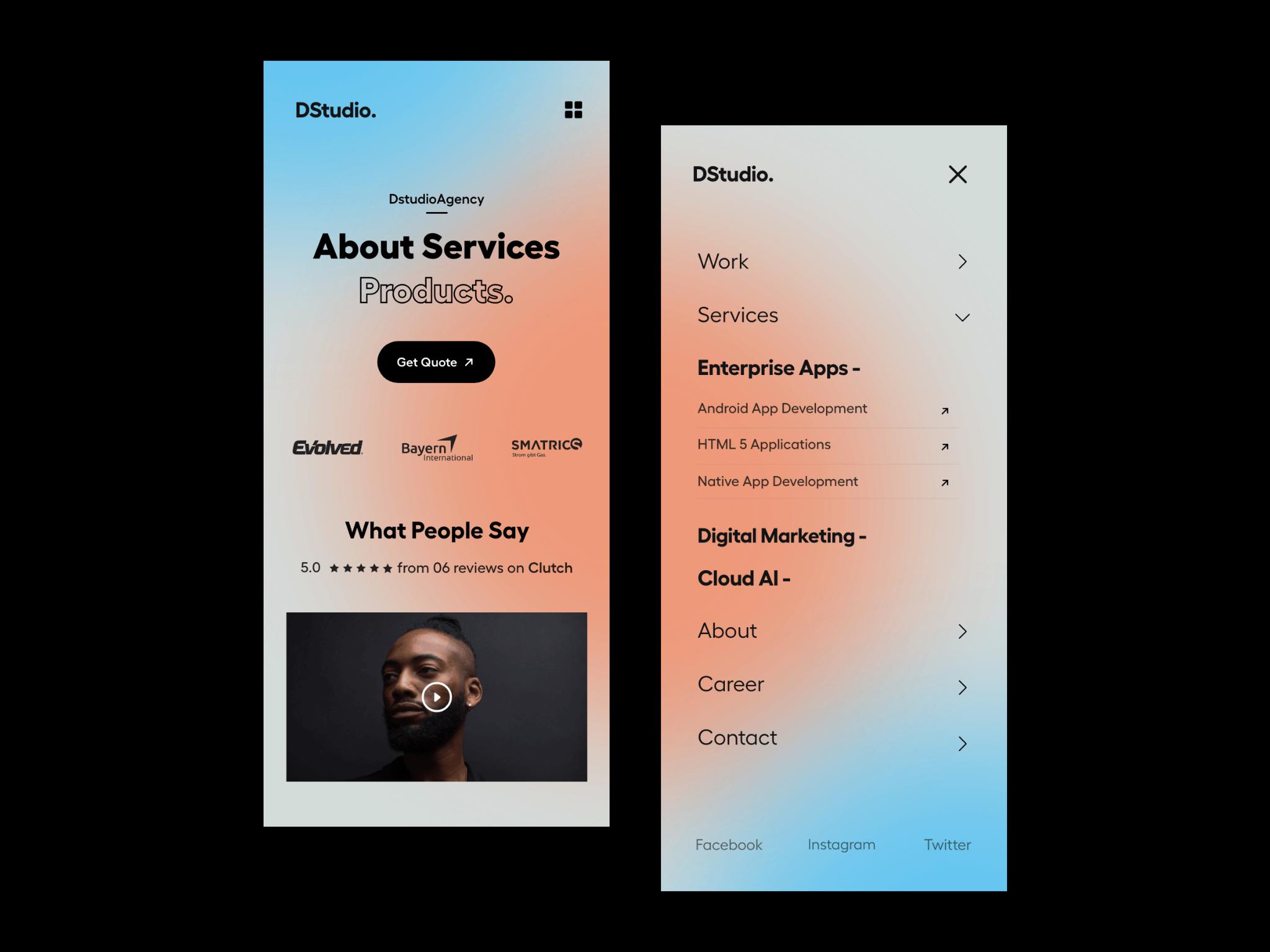 Example of mobile responsive UI design