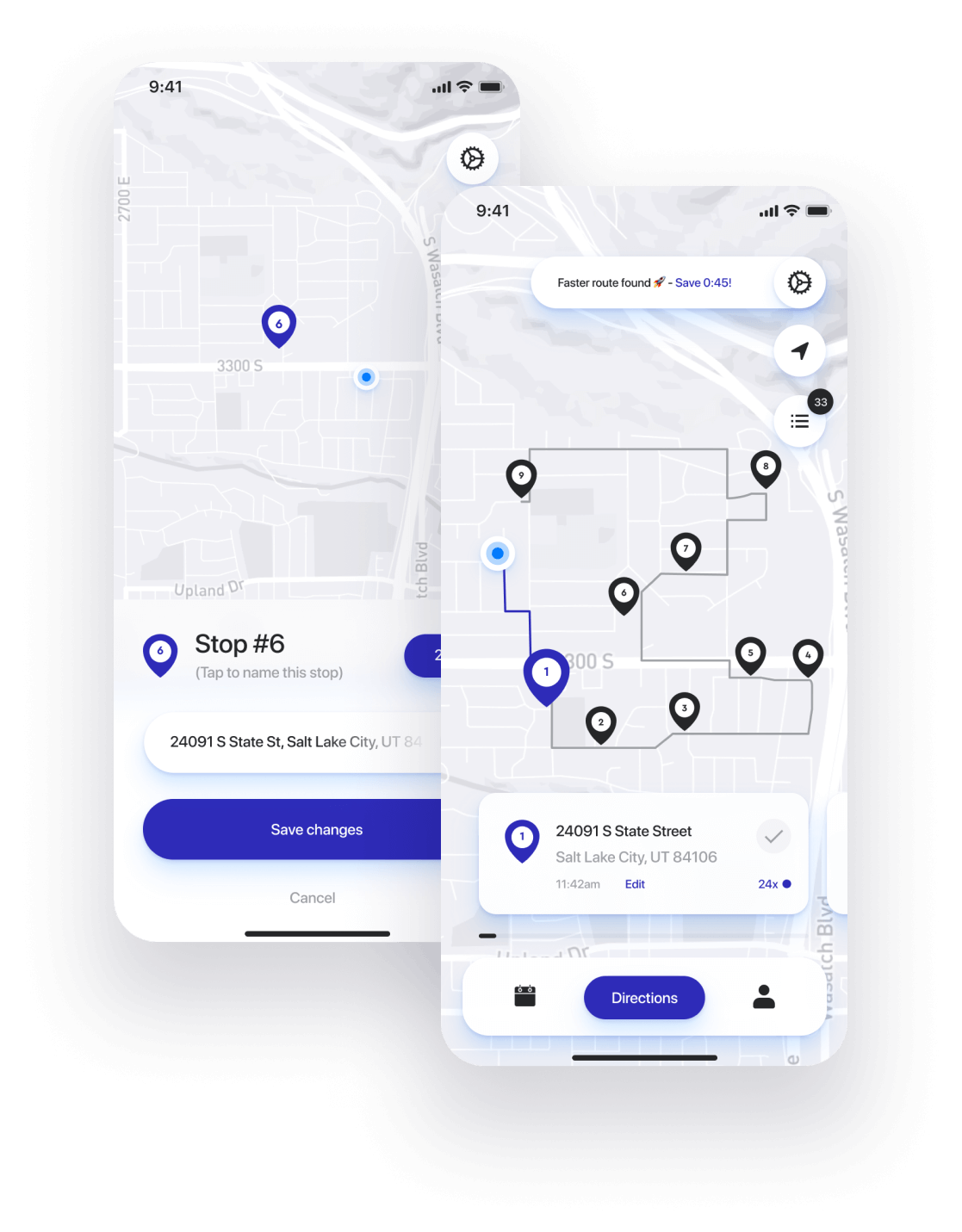 Straightaway app birds-eye view feature. See all your delivery stops.