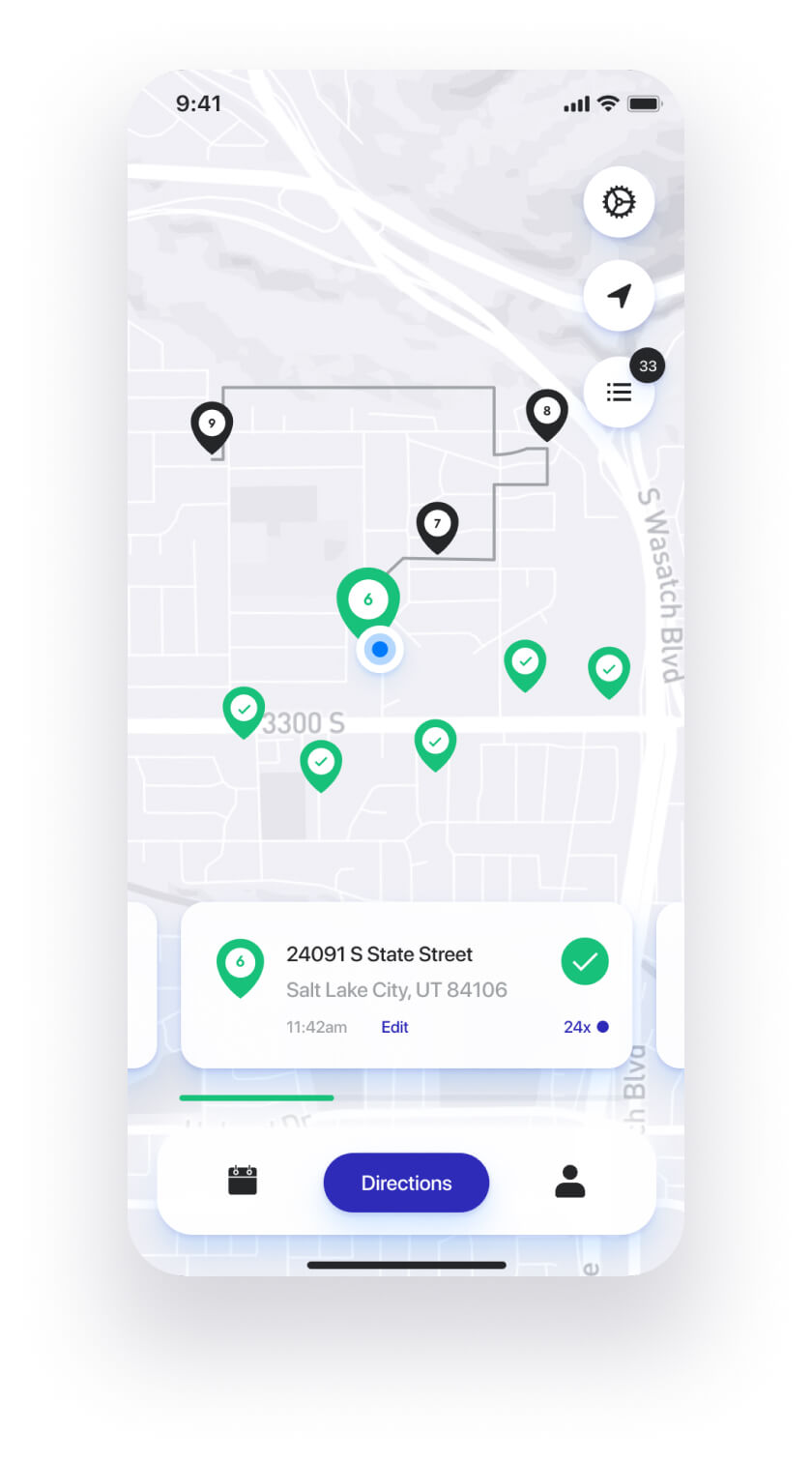 Straightaway route planner app - birds-eye view features.