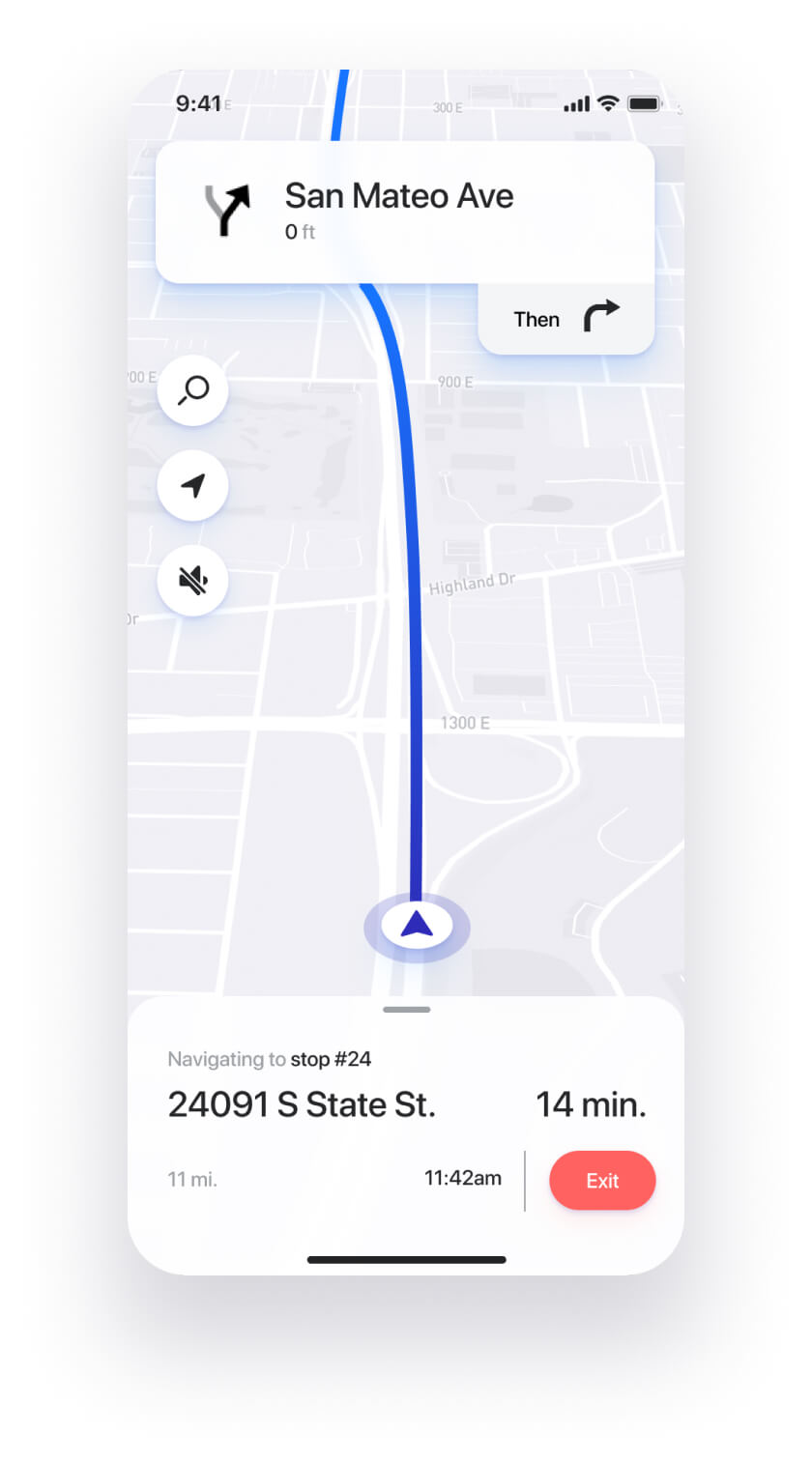 Straightaway route planner app built-in turn-by-turn navigation feature.