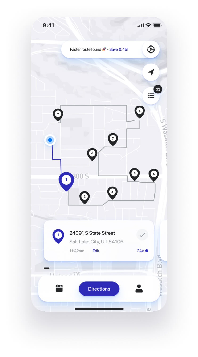 Straightaway route planner app - optimize the order of your stops for the fastest route.
