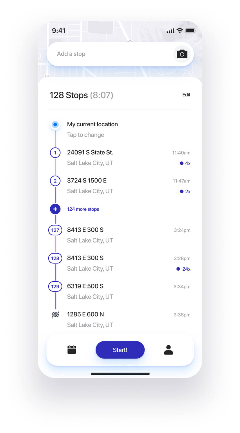 Straightaway route planner app - optimized order of stops view.