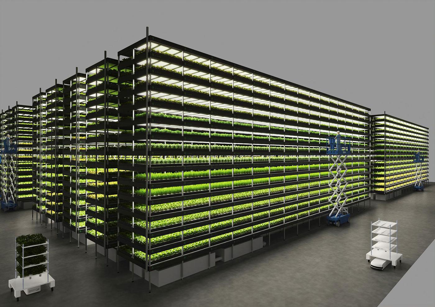 Computer rendering af det vertikale etage landbrug