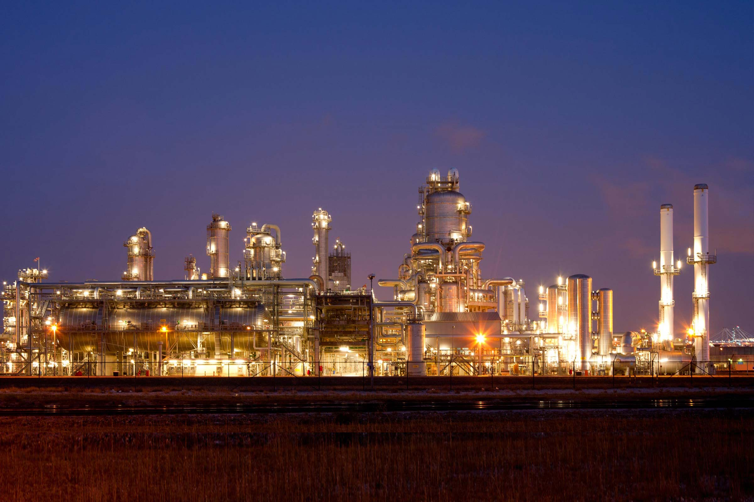 Background image of oil refinery