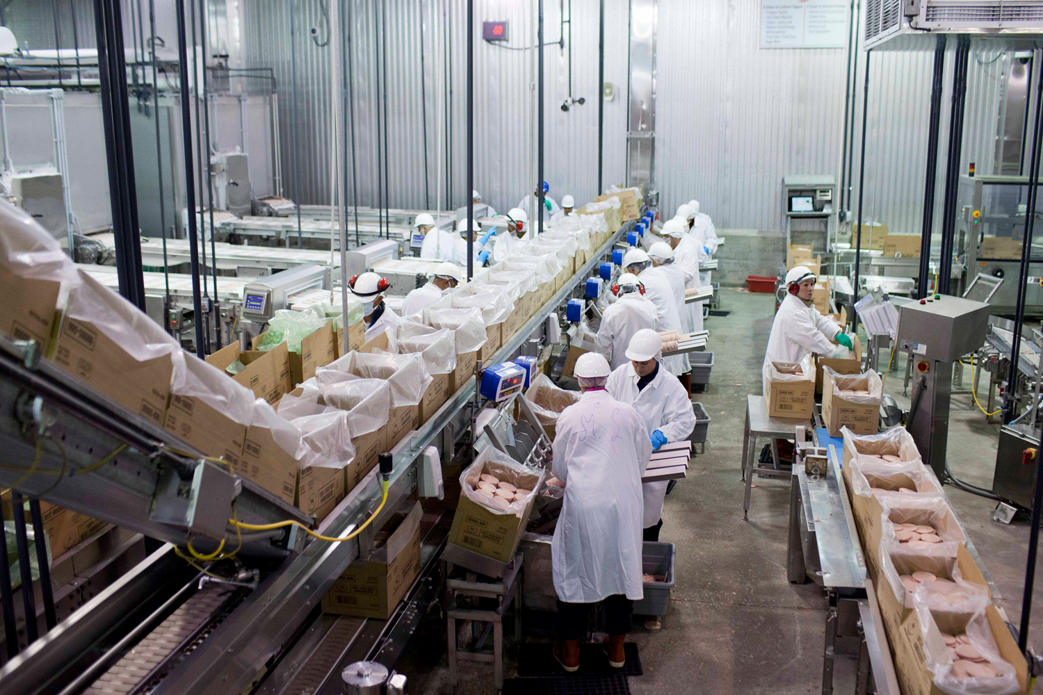 workers packing meat patties lopez