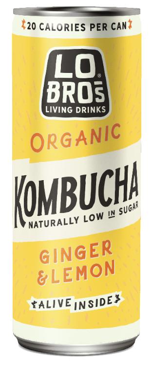 Lo Bros. Organic Kombucha Ginger Lemon 250mL