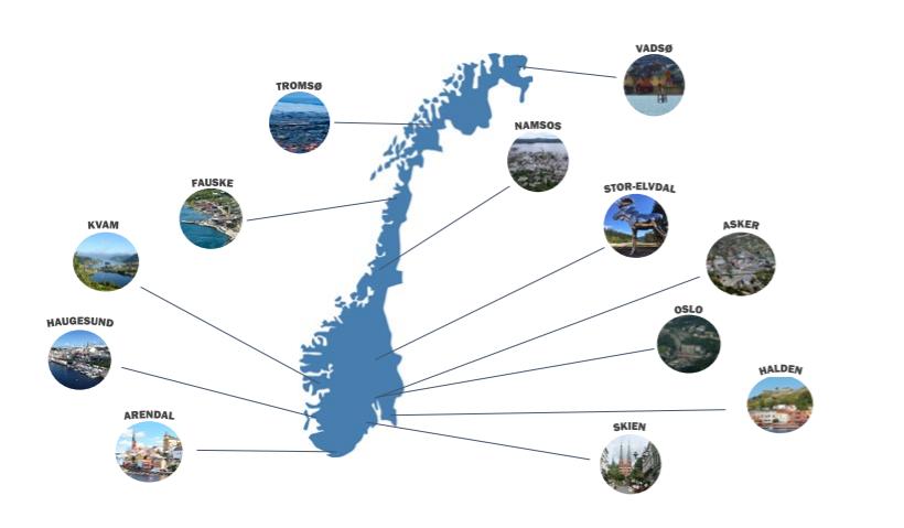 Norgeskart med oversikt over forsøkskommuner for det nasjonale Fritidskortet