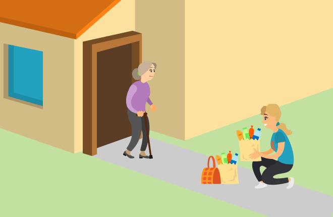 Frivillig leverer mat på døren til eldre kvinne i karantene