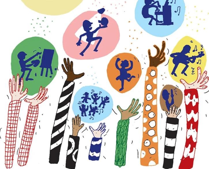 Illustrasjon: Fargerike armer i været omgitt av fargerike bobler med mindre illustrasjoner av skyggefigurer som utøver ulike kreative aktiviteter
