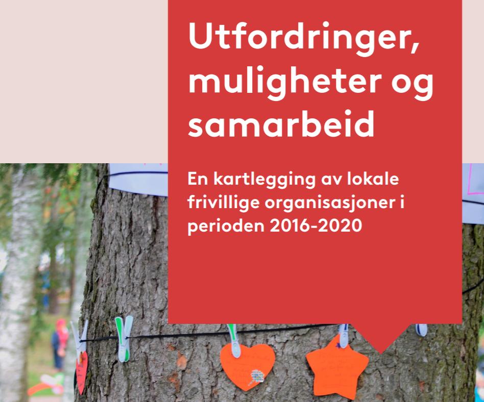 Bilde som viser tittel på rapporten: Utfordringer, muligheter og samarbeid. En kartlegging av lokale frivillige organisasjoner i perioden 2016-2020