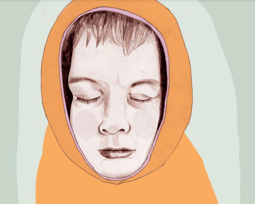 Illustrasjon: Ungdom med lukkede øyne omsluttes av en stram og oransje hette