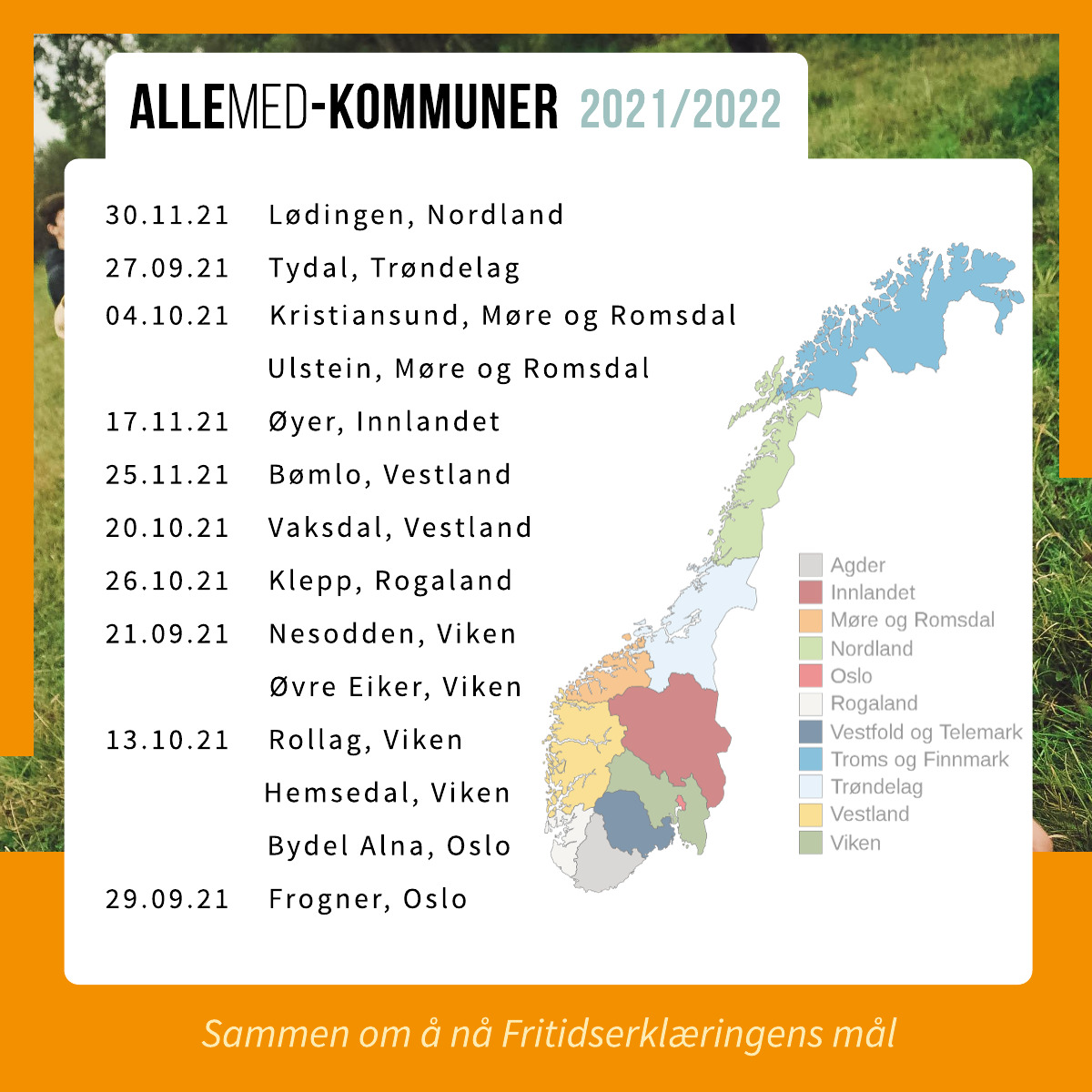 ALLEMED-kommuner 2021/2022 er Lødingen i Nordland, Tydal i Trøndelag, Kristiansund og Ulstein i Møre og Romsdal, Øyer i Innlandet, Bømlo og Vaksdal i Vestland, Klepp i Rogaland, Nesodden, Øvre Eiker, Rollag og Hemsedal i Viken, Bydel Alna og bydel Frogner i Oslo