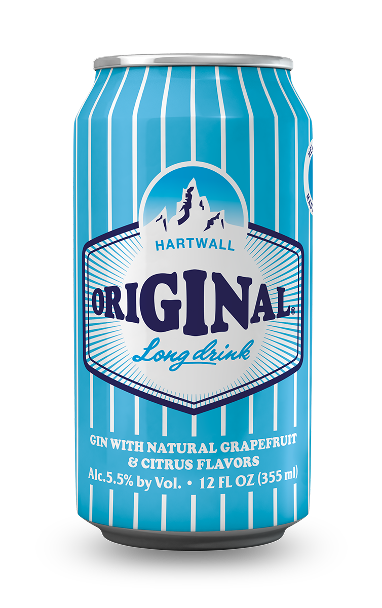 A striped light blue and white can with the official Hartwall Original Long Drink in the center, below the logo the ingredients, quantity and alcohol by volume.