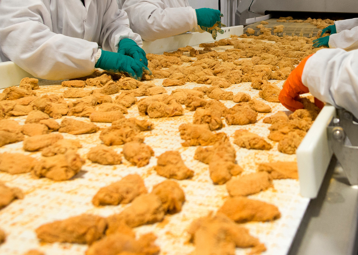 Chicken worker sorting