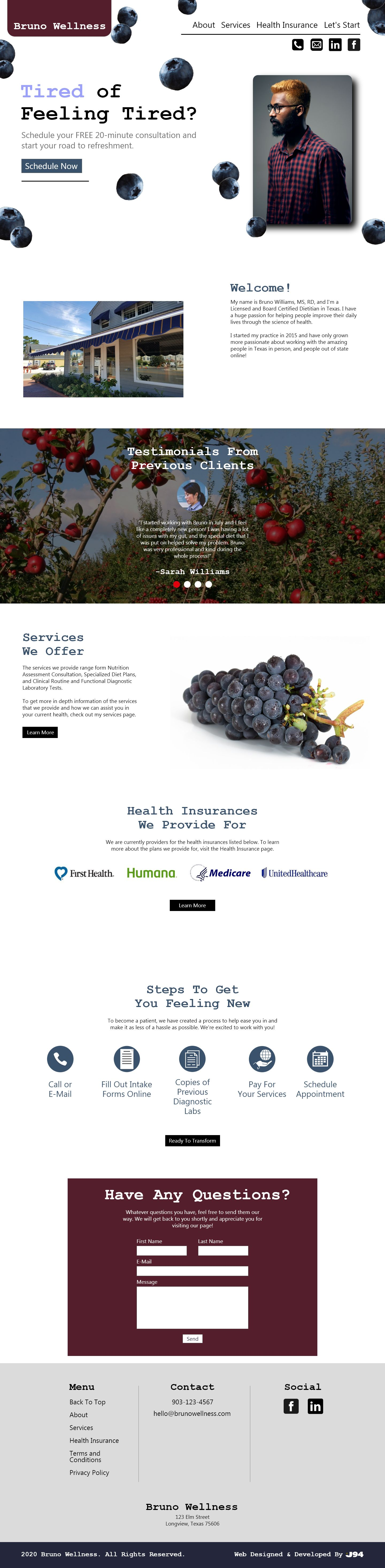 Webpage layout for a dietitian.