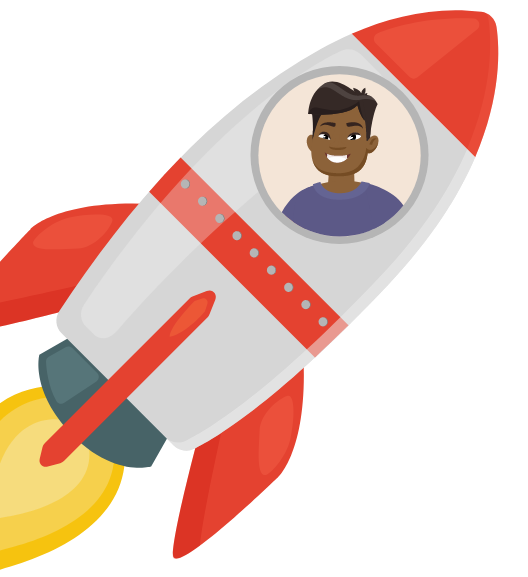 An illustration of a person in a rocket ship.