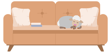 An illustration of a sheep sleeping on the couch.