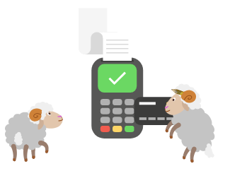 An illustration of two sheep making a business transaction.