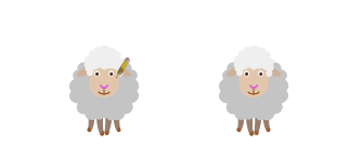 An illustration of two sheep talking.
