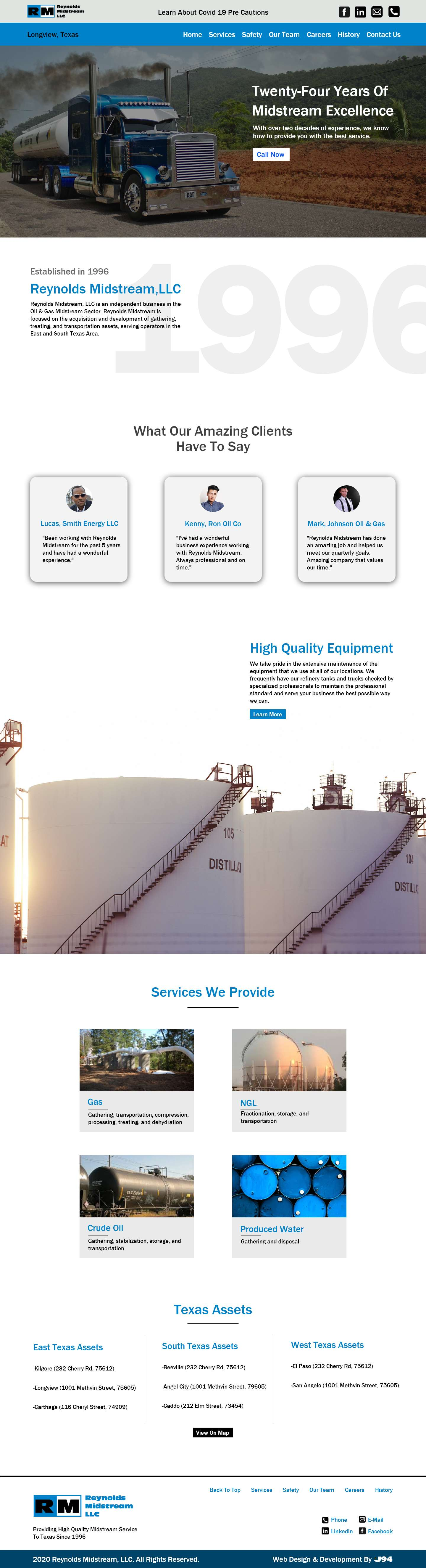 Webpage layout for a gas and oil compnay.