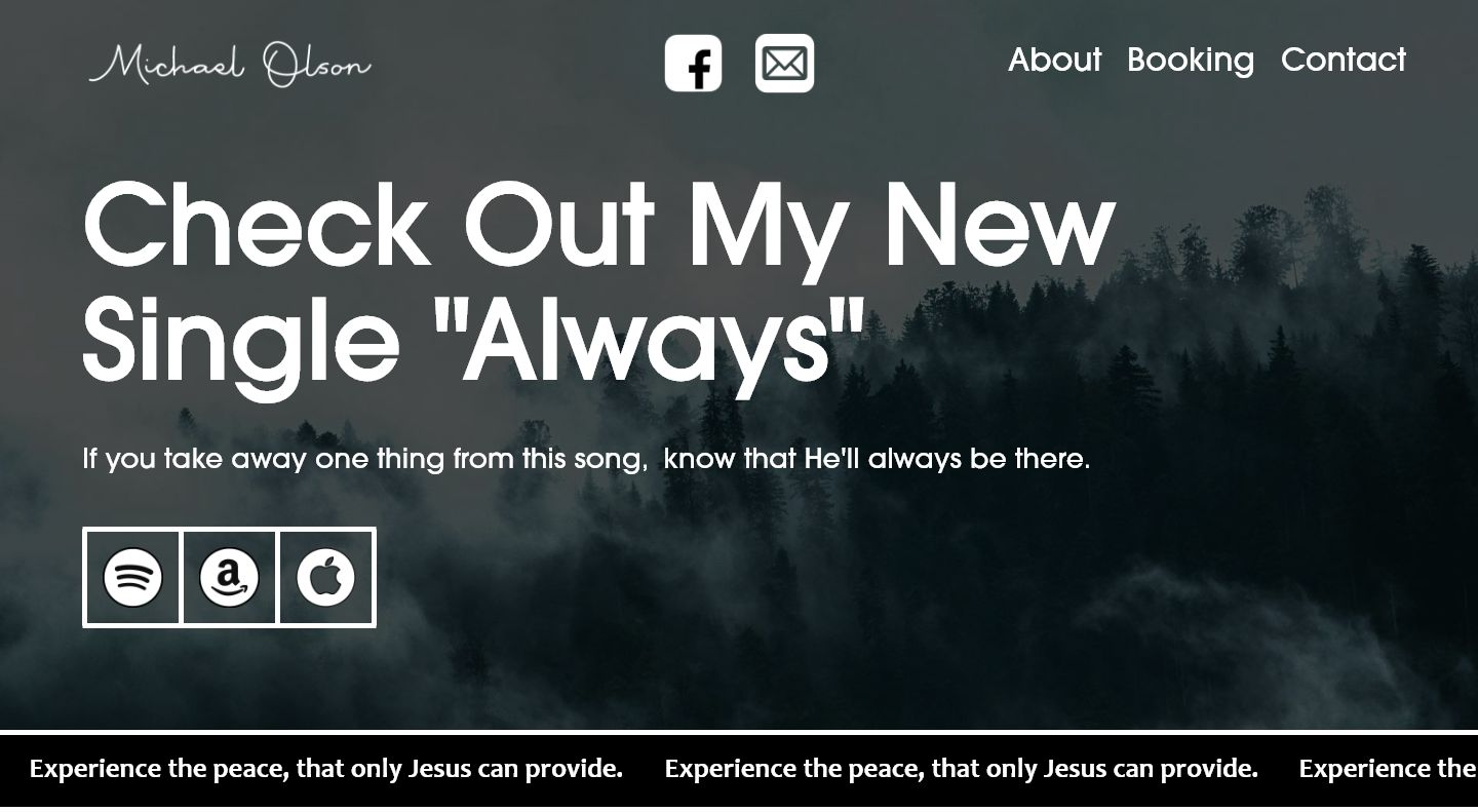 Webpage demo for a musician.