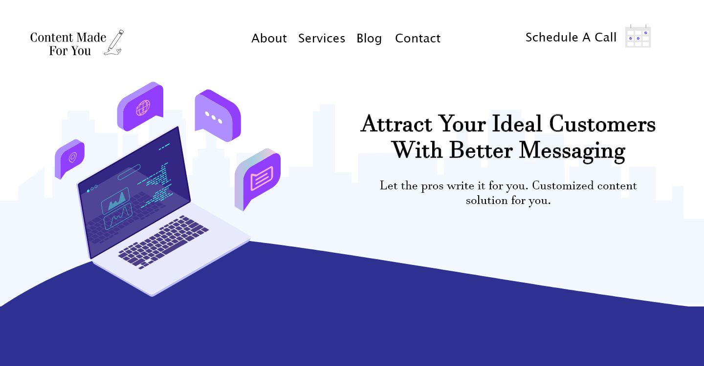 Webpage demo for a content strategy business.
