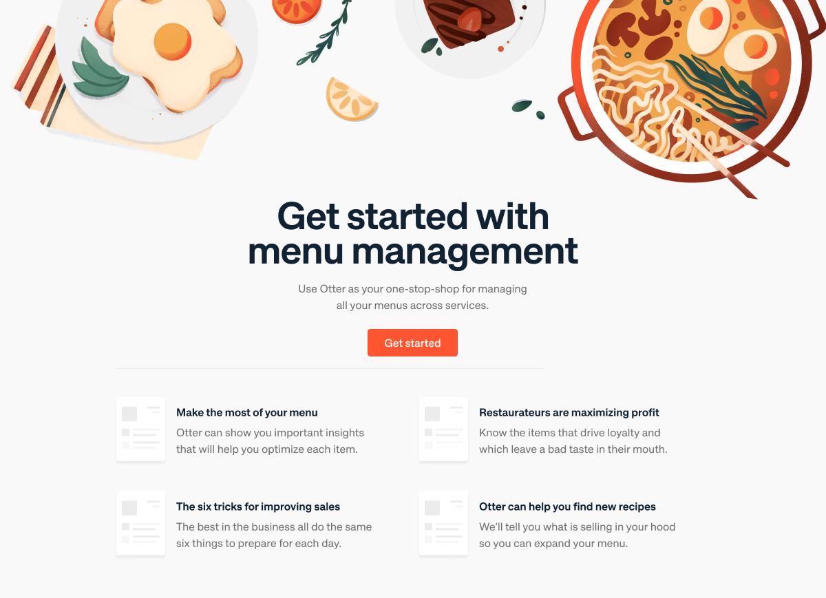 Restaurant delivery menu management