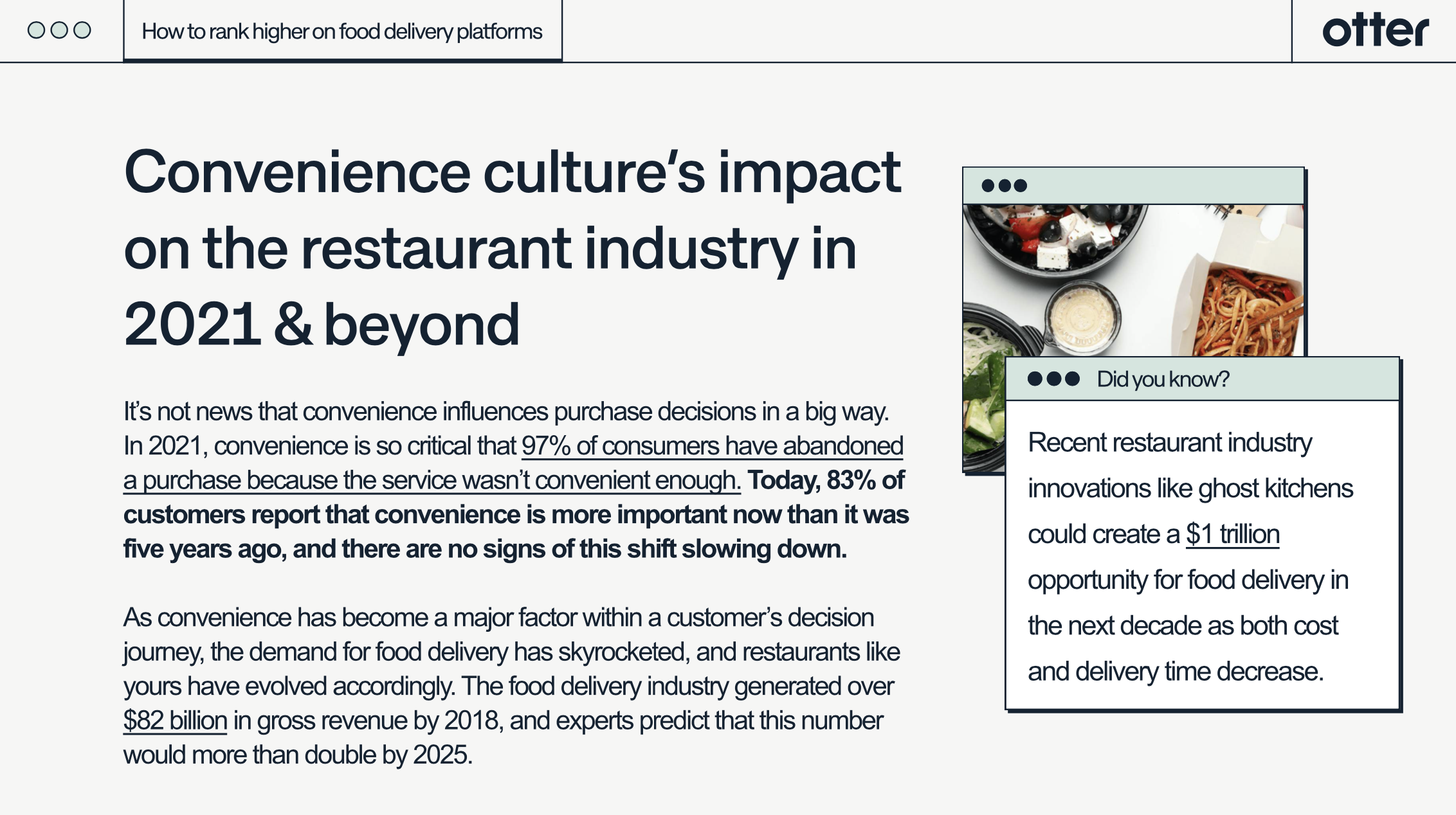 Increase restaurant ranking delivery
