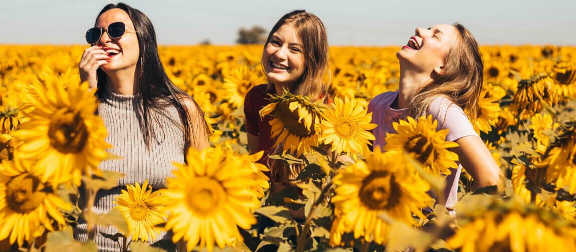 Drei Frauen lächelnd in einem Feld voller Sonnenblumen.