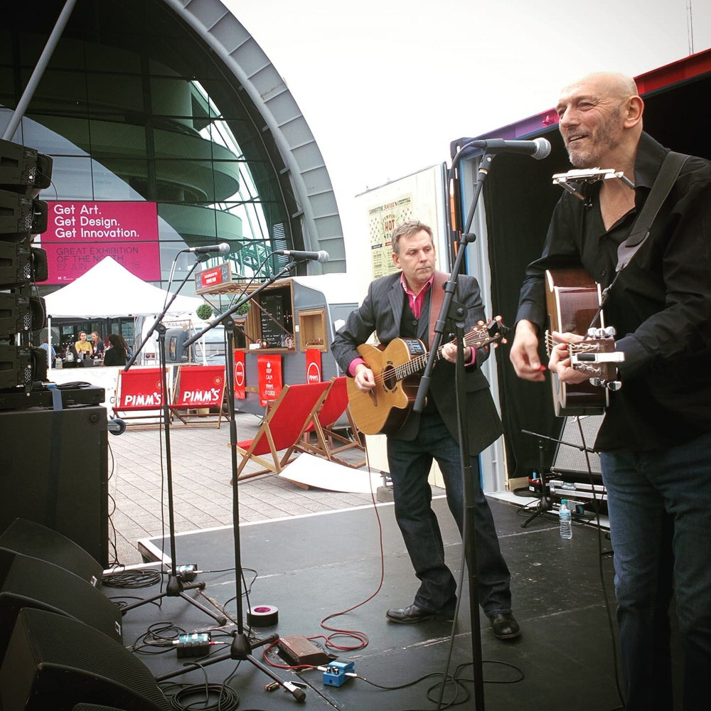 THe Jinski Duo performing in front of the Sage in Gateshead