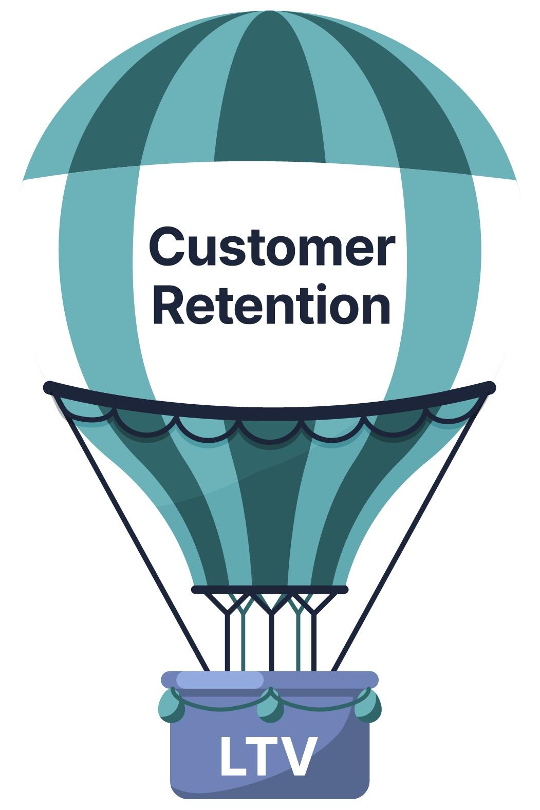 Hot air balloon cartoon: customer retention carries LTV higher.