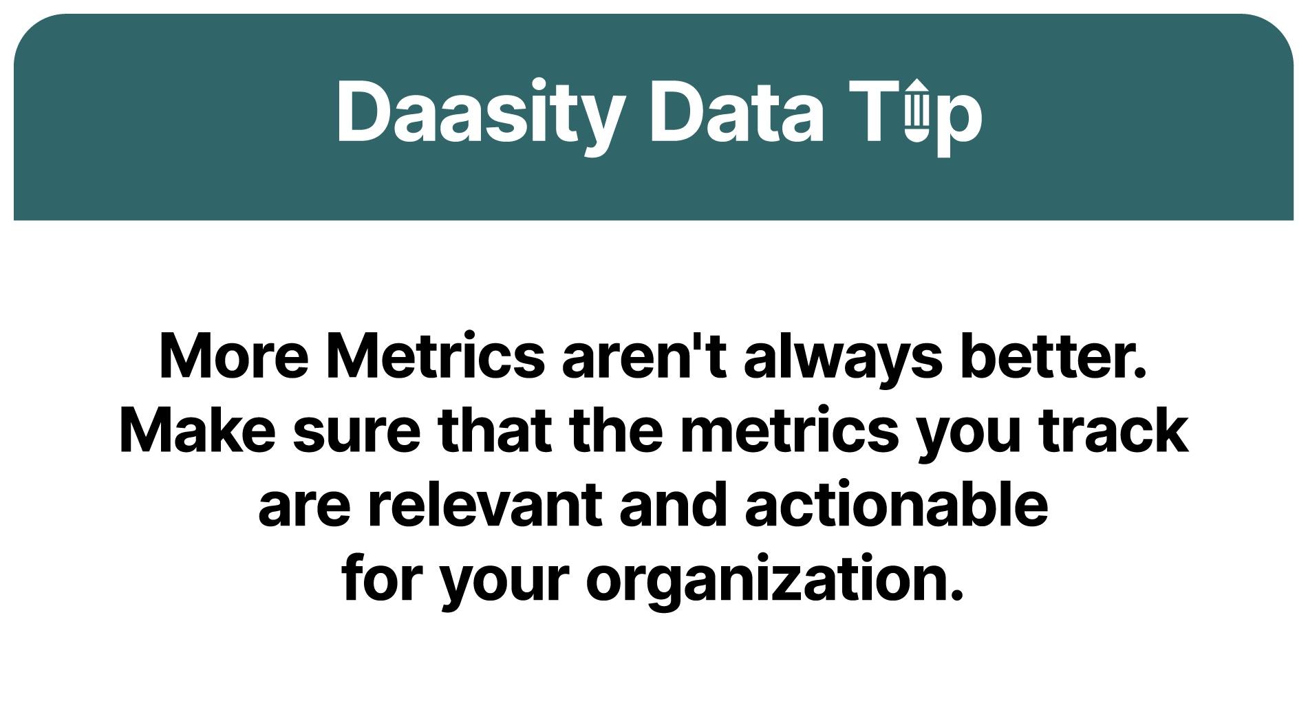 More metrics aren't always better. Make sure you use actionable metrics.