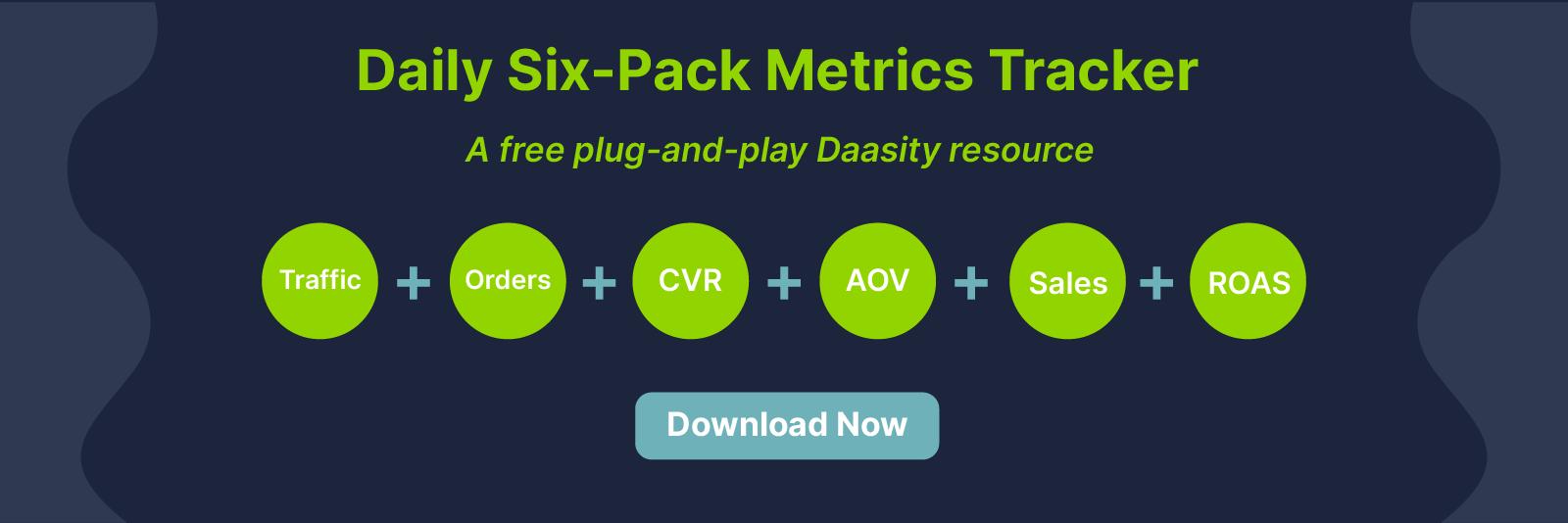Daasity's free six-pack ecommerce metrics tracker