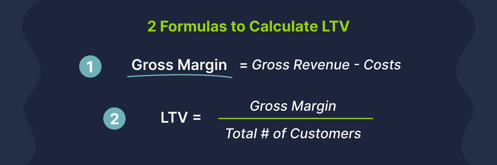 how to calculate LTV - LTV formulas (gross margin and LTV)