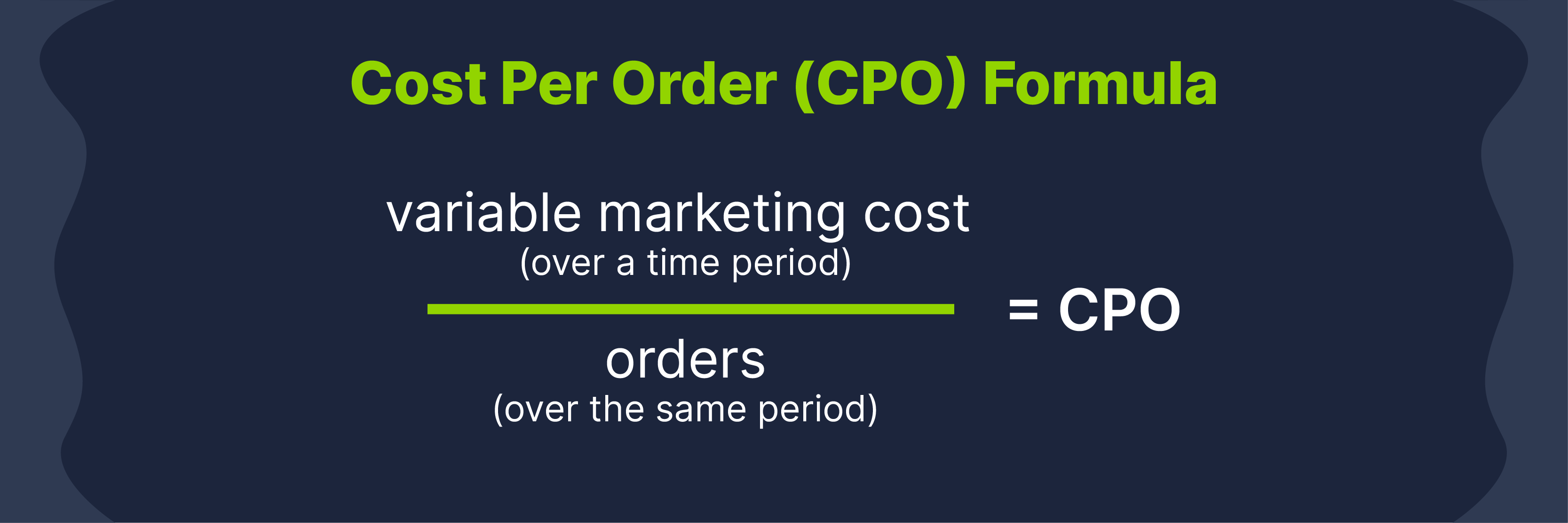 cost per order formula: to calculate cost per order, divide variable marketing cost (over a time period) by number of orders (over the same period)