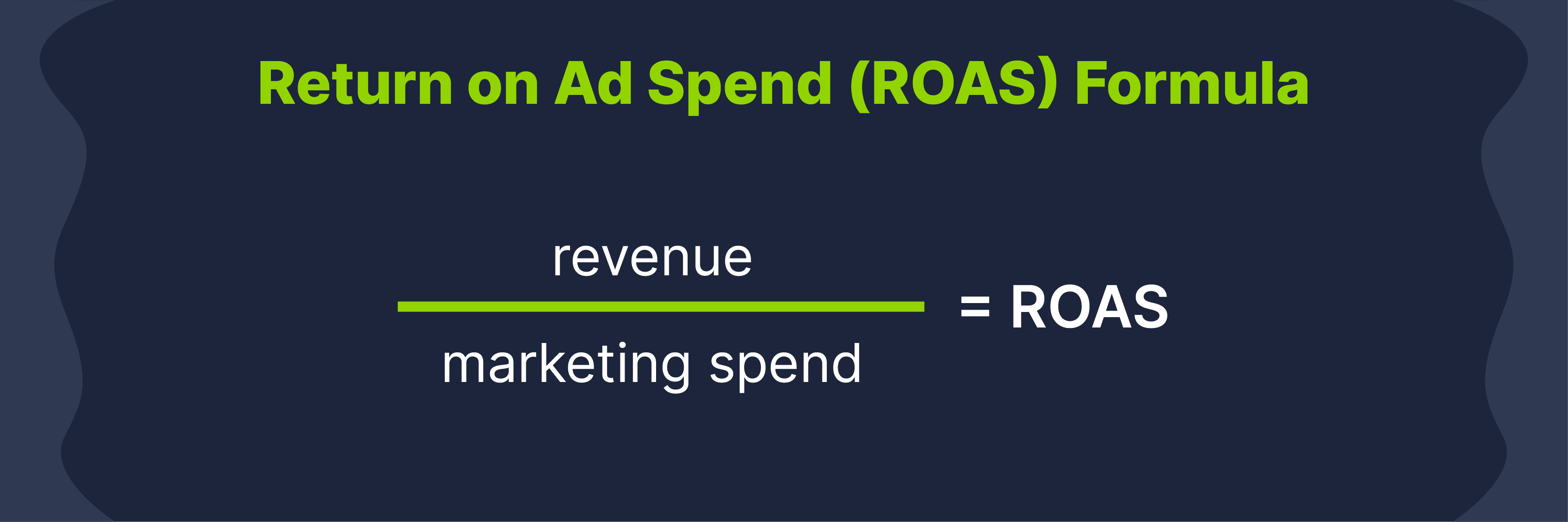 ROAS formula is revenue divided by marketing spend