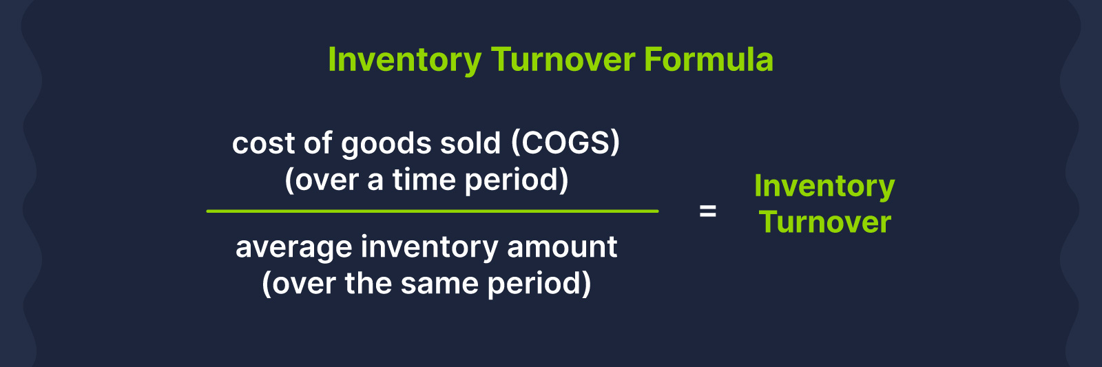 inventory turnover formula is COGS divided by average inventory amount