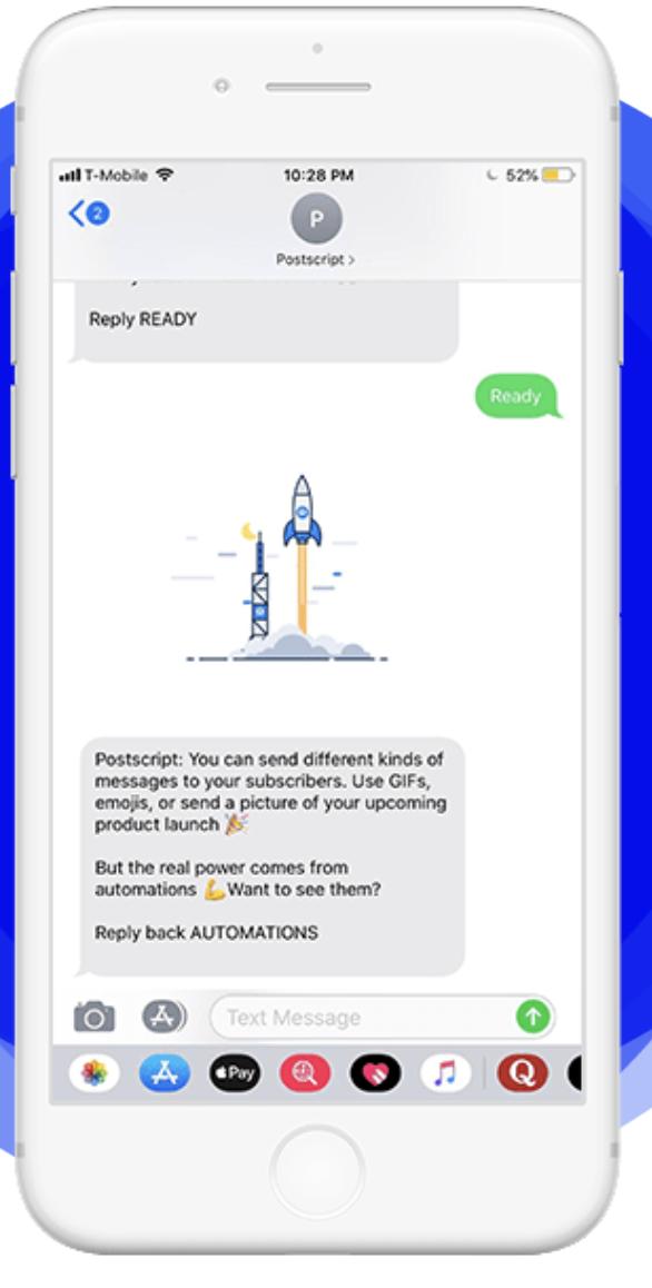Example of Postscript SMS customization